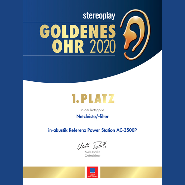 Inakustik AC-3500P power filter won the Stereoplay 2020 Golden Ear Award!